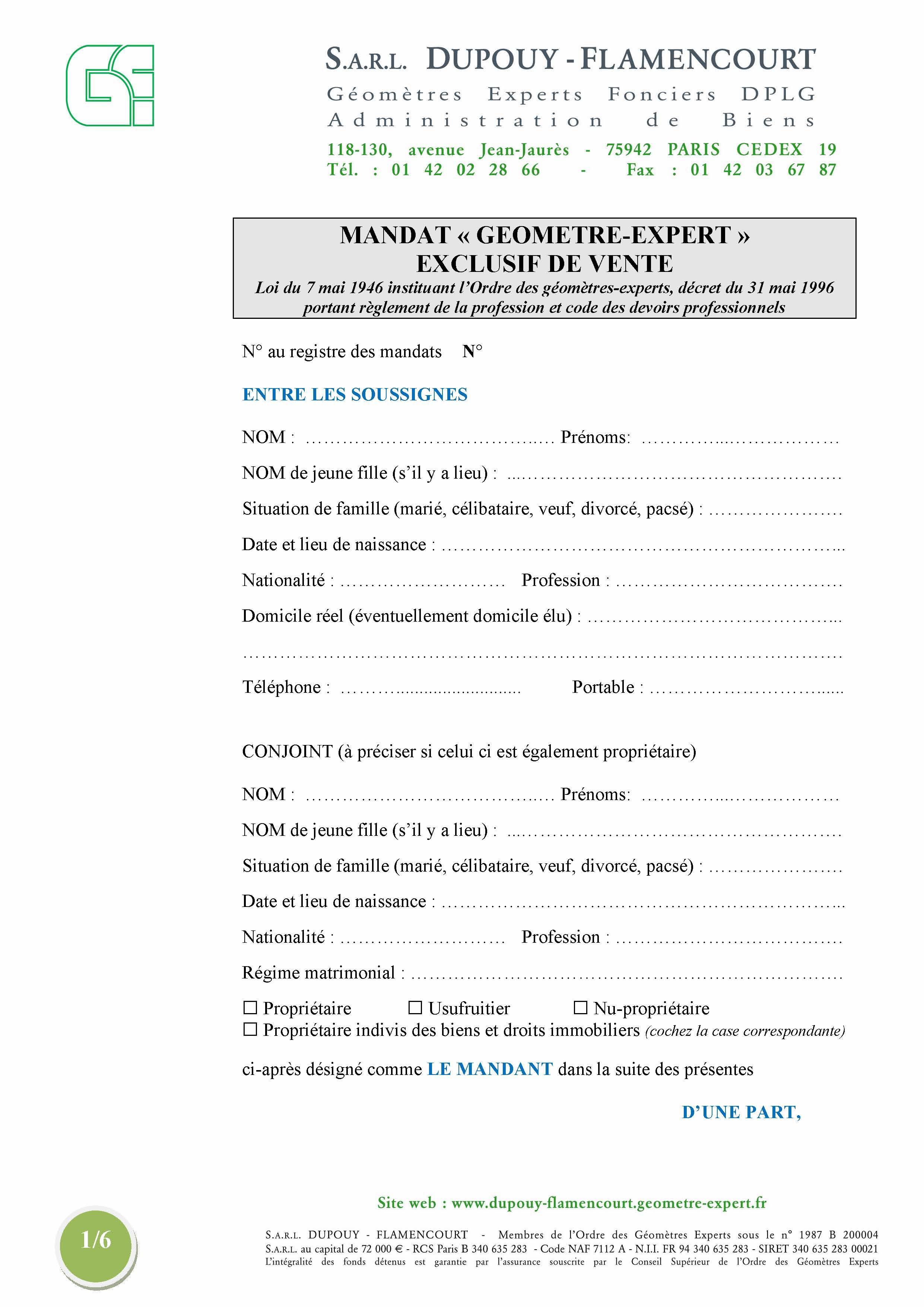 Dupouy flamencourt mandat de vente expert transaction for Acompte achat maison